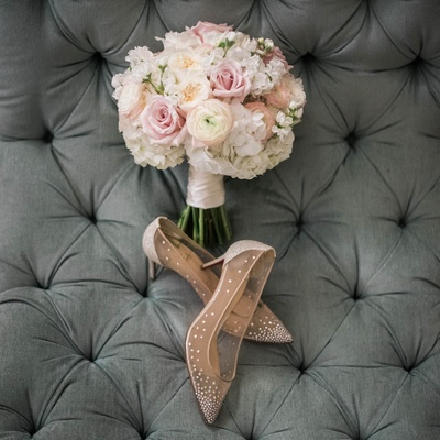 ivory and blush rose bridal bouquet, christian louboutin bridal shoes with mesh and rhinestones