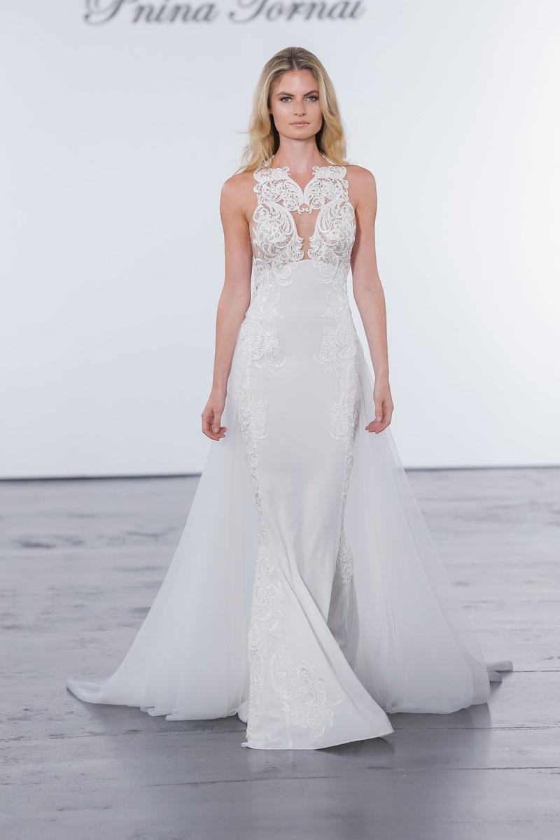 Pnina Tornai for Kleinfeld 2018 wedding dress high neck gown cape skirt train embroidery