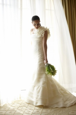 Vera Wang tiered dress with one shoulder ruffle