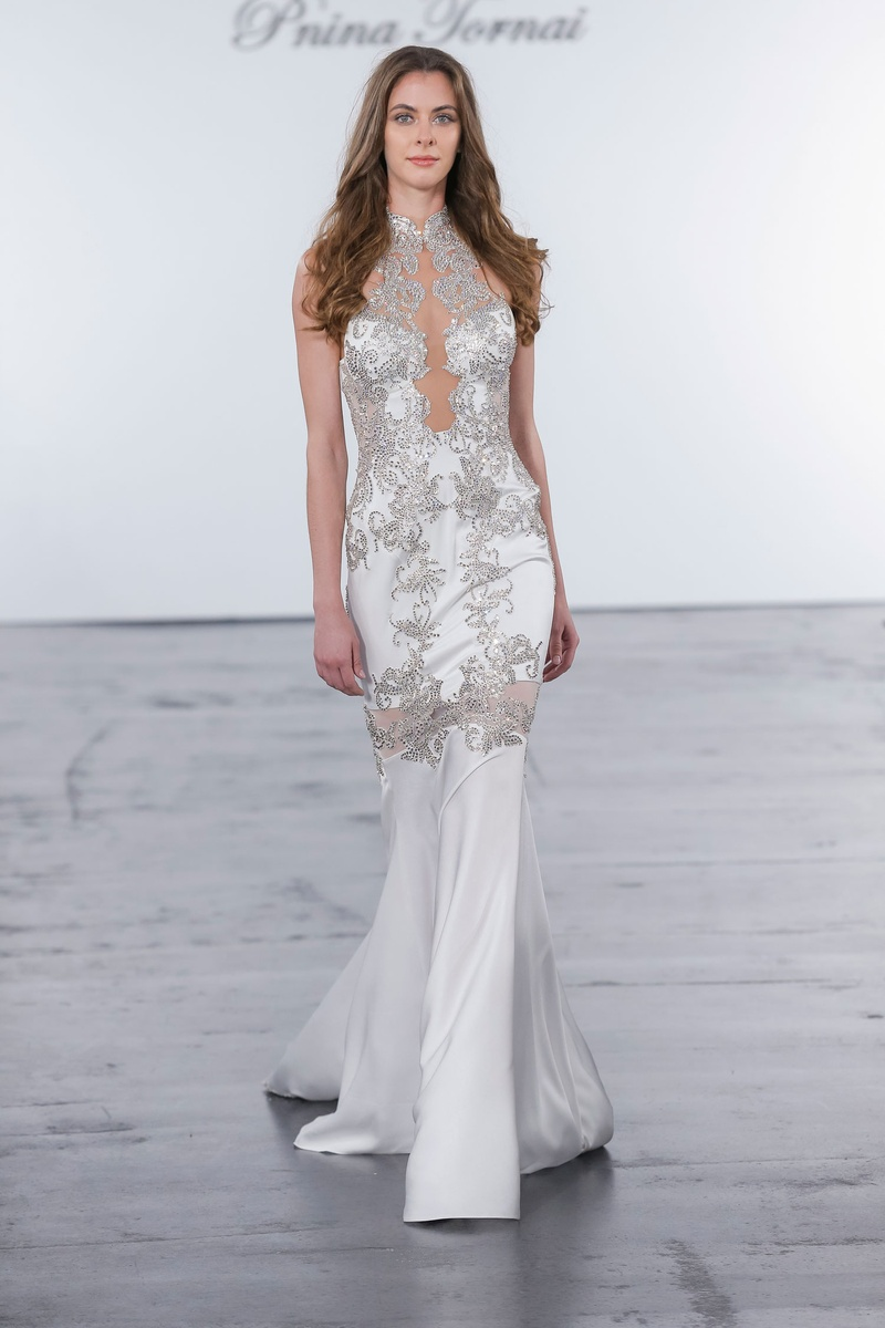 Pnina Tornai for Kleinfeld 2018 wedding dress high neck silver crystal embroidery low back sheer