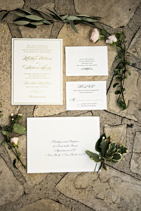 gold ivory invitation suite wedding calligraphy