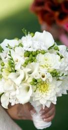 White dahlia and calla lily wedding bouquet