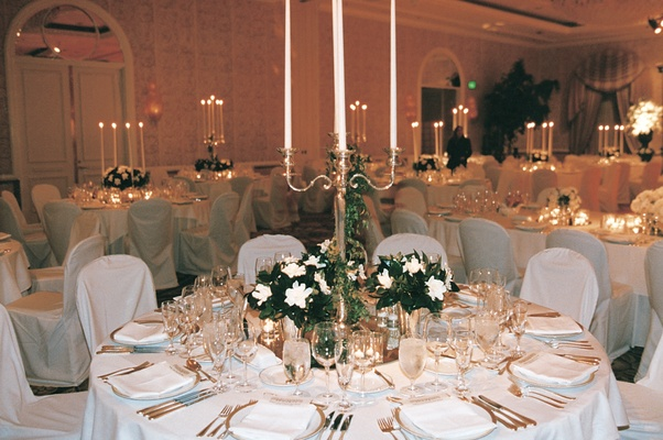 Candelabrum and small floral arrangements