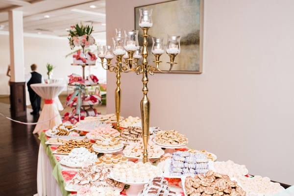 bridal shower dessert display with gold candelabra