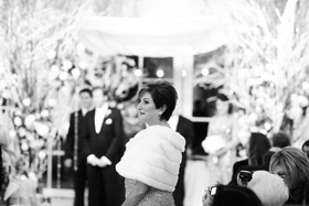 Black and white photo of fur mother-of-the-bride shawl