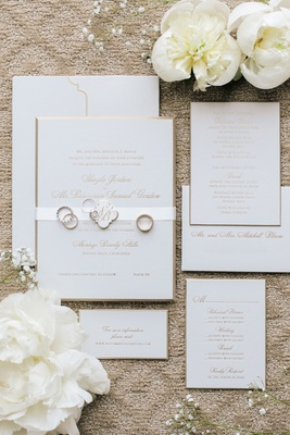 Wedding invitation suite formal wedding beverly hills white stationery gold lettering calligraphy