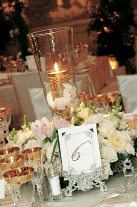 Table number with rhinestones on silver stand