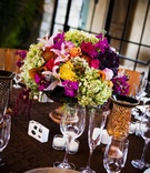 Tuscan-inspired wedding reception centerpiece