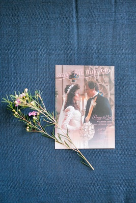 Vow renewal save the date invitation using couple's wedding photo from thirty years ago