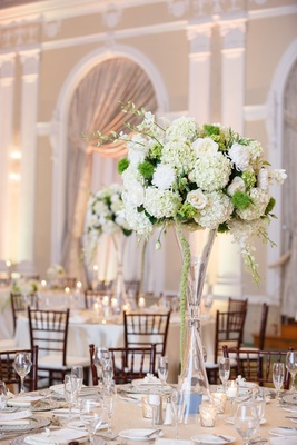 White and Green Centerpiece with mirror and lace details
