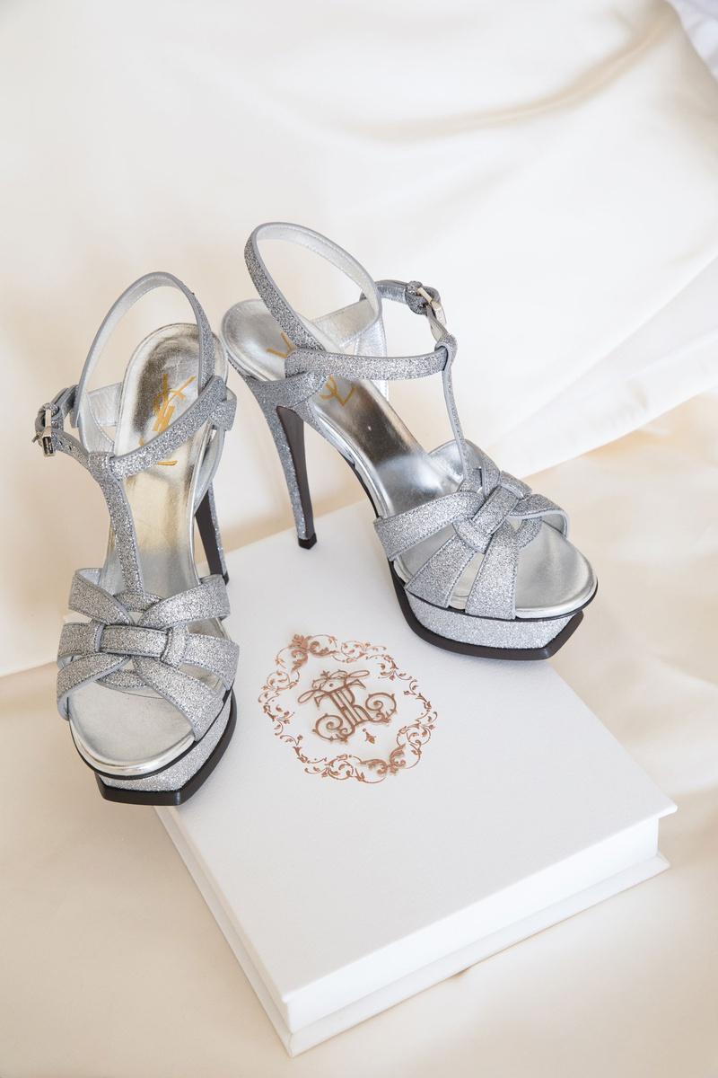 yves saint laurent platform wedding heels silver glitter high heels on wedding invitation box