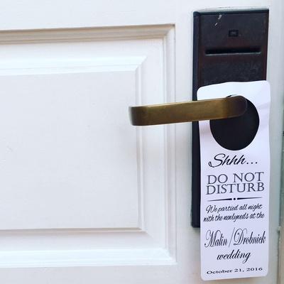 do not disturb sign post wedding hotel room custom paper goods kelli malin anthony drobnick