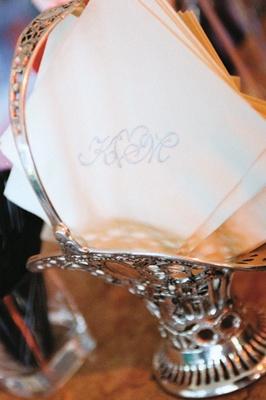White cocktail napkin with silver wedding monogram