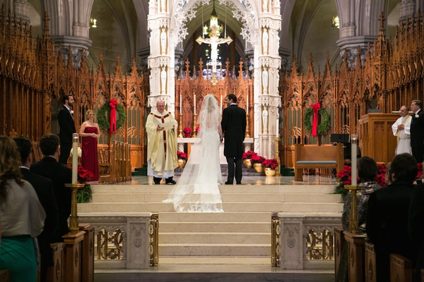 Bride in a Pnina Tornai dress, veil, groom in morning coat at Cathedral Basilica of the Sacred Heart