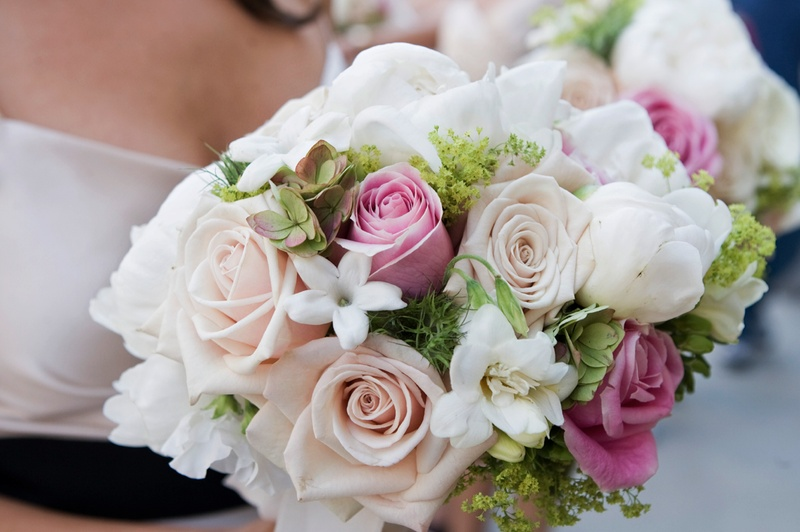 Pink and white flowers with greenery