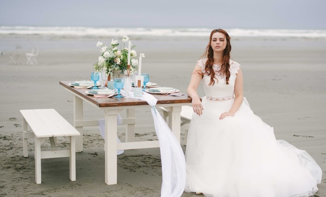 Rustic, Understated Coastal Styled Shoot with Muted Blue Palette