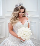 wedding portrait ashley alexiss drop waist ball gown long hair curls tiara with pretty makeup
