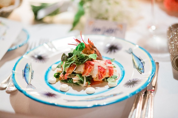 lobster and arugula salad for first course at wedding reception
