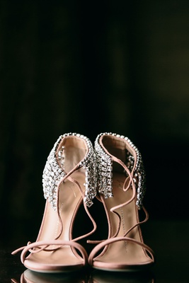 yves saint laurent wedding shoes pink blush with crystal rhinestones at ankle straps