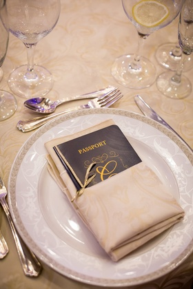Blue wedding reception menu in form of passport with couple's surname initial in gold