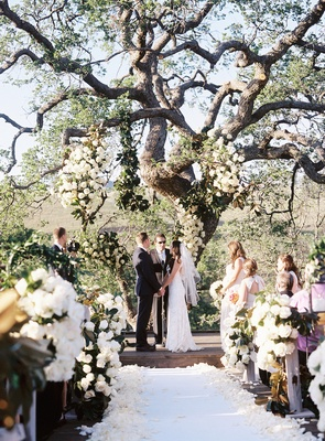 Bride and groom holding hands under oak tree
