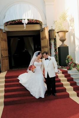 Michael Gallo, owner of Joseph Gallo Farms in a tuxedo with a white blazer and bride in Vera Wang