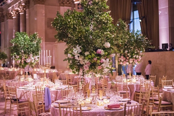 Romantic garden inspired summer wedding in new york city inside elegant ballroom wedding with tree and flower centerpieces junglespirit Choice Image