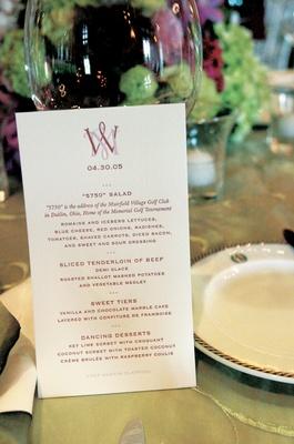 Wedding reception menu with couple's monogram