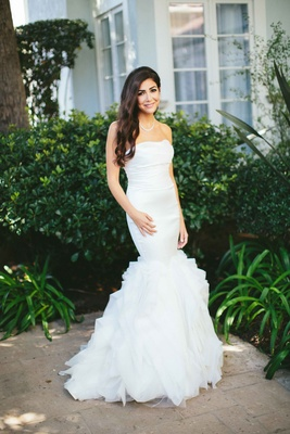 strapless mermaid-style gown, hair down bride at fairmont miramar hotel