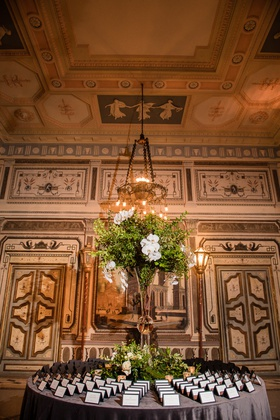 vizcaya museum and gardens wedding, escort card table, white cards with black border, greenery and o