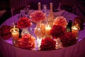 Sweetheart table camellia open rose table decorations
