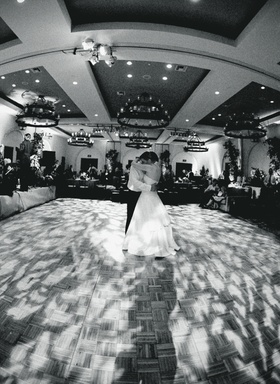 black and white dance floor with lighting projections