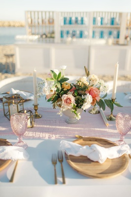 small flower arrangements, blush runner, blush goblet, wooden plate