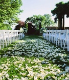Outdoor wedding ceremony on grass lawn white flower petals white chairs and greenery arch
