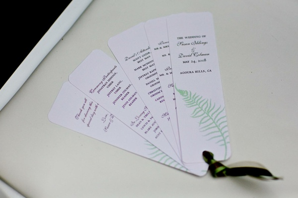 Wedding program that fans out with a fern branch