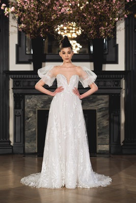 Romantic illusion plunging sweetheart A-line gown with Juliet sleeves, sheer back, covered buttons a