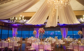 Restaurant reception with elegant drapery and lighting