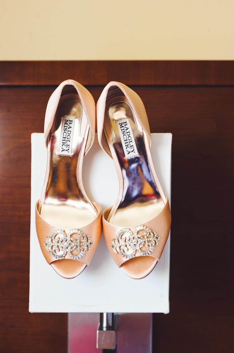 badgley mischka peep toe heels with jewels on toe