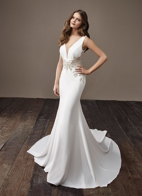 af819781c063 Badgley Mischka Bride 2018 collection wedding dress Beyonce sleek silk  satin bridal gown jewel waist.
