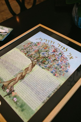 jewish wedding ketubah marriage contract two trees with trunks intertwined pretty flowers