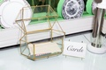 geometric glass box with gold lines for wedding card box, terrarium-inspired card box