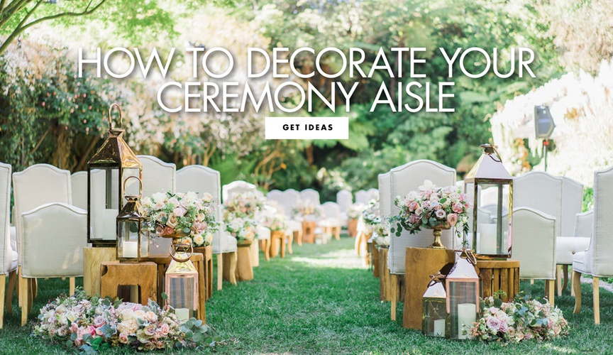 Find out how to decorate your wedding ceremony aisle with flowers and decor and aisle runners