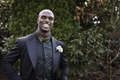 Tennessee Titan Jason McCourty in black tuxedo, gold and black bow tie