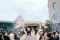 bride and groom after wedding ceremony confetti canon outdoor wedding personalized