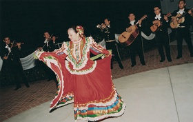 Mariachi band performs with ballet folkloriko dancers
