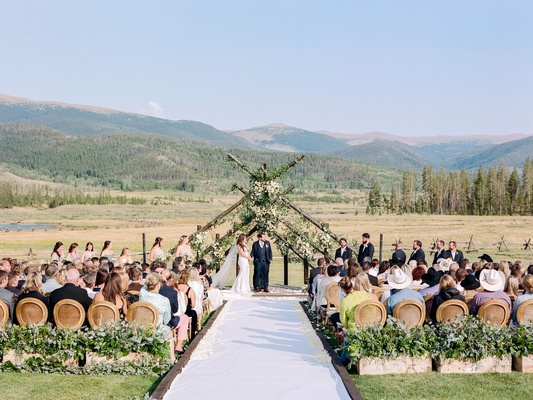 guests seated during ceremony at devil's thumb ranch in colorado with mountain views