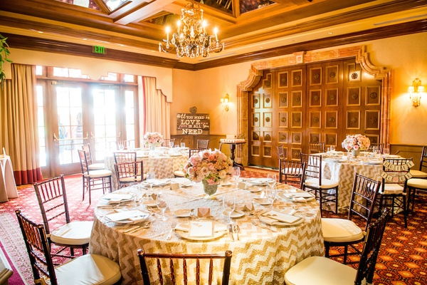 Wedding shower at Amaya restaurant, The Grand Del Mar, with chevron ivory & gilded tablecloths