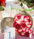 watercolor invitations pink table linens gold lanterns red and white flowers vineyard glasses
