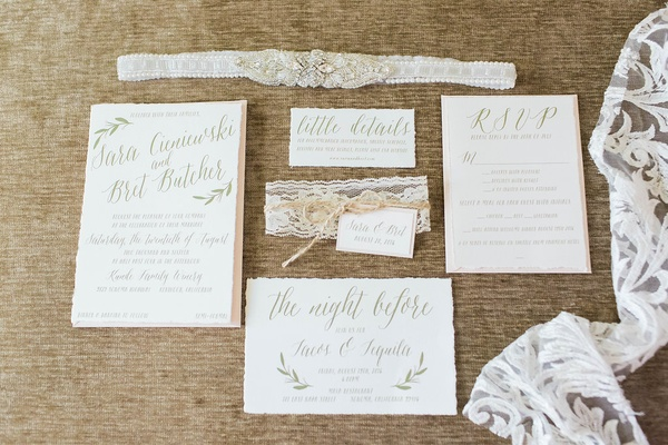 champagne hued wedding invitation suite northern california sonoma rustic chic calligraphy garter