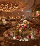 beverly hills hotel ballroom wedding reception pink roses hanging from chandelier dance floor pink